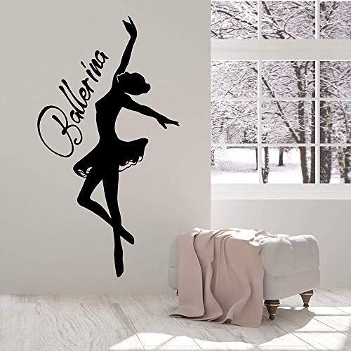 Bailarina Bailarina Palabra Logo Vinilo Tatuajes De Pared Decoración Para El Hogar Ballet Girl Room Art Mural Wallpaper Pegatinas De Pared 57 * 105 Cm