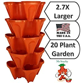 LARGE Vertical Gardening Stackable Planters by Mr. Stacky - Grow More Using Limited Space And Minimum Effort - Plant… 3 Plant. Stack. Grow. Water Top Planter & All Plants Below Get Watered - SMART GARDENING Grow More in any Space and minimize maintenance. Take Care of a 24 Veggie Garden By Watering 1 Pot