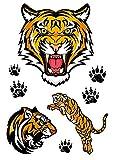 Full Arm Animals Adultos Pegatinas Falsas Art Sticker Cover Up Set Suministros No Tóxicos E Impermeables Para Niños Niñas Adultos Imagen De Cabeza De Tigre Con Purpurina 105X148Mm-10Pcs