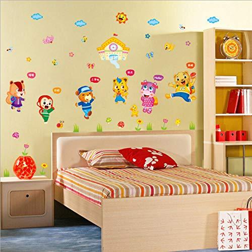 Chambre à coucher du salon de la chambre des enfants Animal World Autocollant mural autocollant amovible