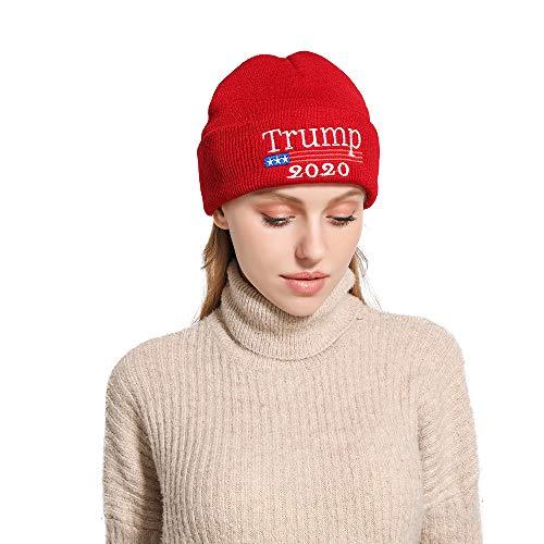 KJSMA Chapeau de président Trump 2020 Bonnet drapeaux brodé en tricot d'hiver - Rouge - Taille Unique