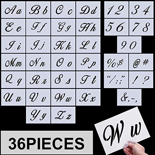 Yaomiao Pochoirs à Lettre, Modèles d'Alphabet, Pochoirs Alphabet Réutilisable Pochoirs d'art Plastique avec Nombres et Signes, Ensemble de 36 Pièces