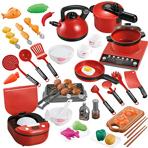 59 PCS Pretend Play Toy Kitchen Set, Toy Food Cookware Playset Steam Pressure Pot and Electric Induction Cooktop,Cooking Utensils,Toy Cutlery,Cut Play Food, Learning Gift for Girls Boys Kids (Red)