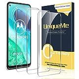 [3 Stück] UniqueMe Schutzfolie für Motorola Moto G8 Panzerglas, HD klar gehärtetes Glas Bildschirmschutz 9H Festigkeit [Keine Blase] Anti-Fingerabdruck