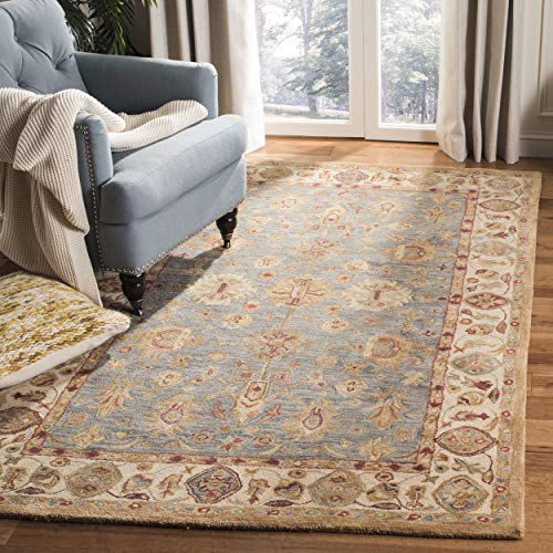 Safavieh Anatolia Collection AN547A Handmade Traditional Oriental Blue and Ivory Wool Area Rug (9'6' x 13'6')