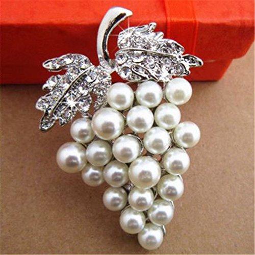 Prachtige Legering Druif Vorm Broche Pin Corsage Kristal Strass Sieraden Prinses Koningin Kostuum Accessoires (J-0115)