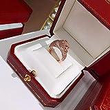 BAJSKD Joyería de Fiesta de Moda de Marca de Plata esterlina para Mujer Rosa de Oro Patrón Negro Pantera Joyería de Boda Anillo de Leopardo