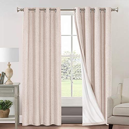 Primitive Textured Linen 100% Blackout Curtains for Bedroom/Living Room Energy Saving Window Treatment Curtain Drapes, Burlap Fabric with White Thermal Insulated Liner (52 x 84 Inch, Natural)