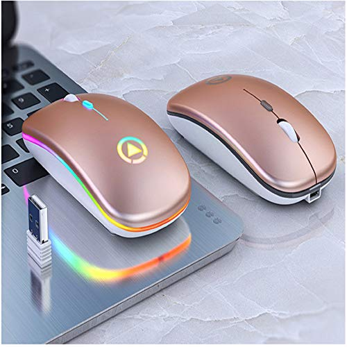 Wireless Bluetooth Mouse, LED  Ultra Thin Dual Mode (Bluetooth 5.1 + USB) 2.4GHz Rechargeable Mute Bluetooth Wireless Mouse, C Adapter for Notebook / MacBook / iPad  OS  13 and Above