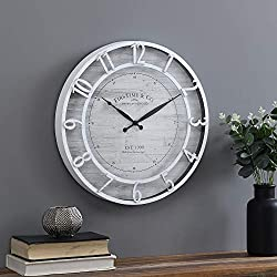 FirsTime & Co. White Kensington Farmhouse Clock, American Crafted, Satin White, 18 x 2 x 18, (31136)