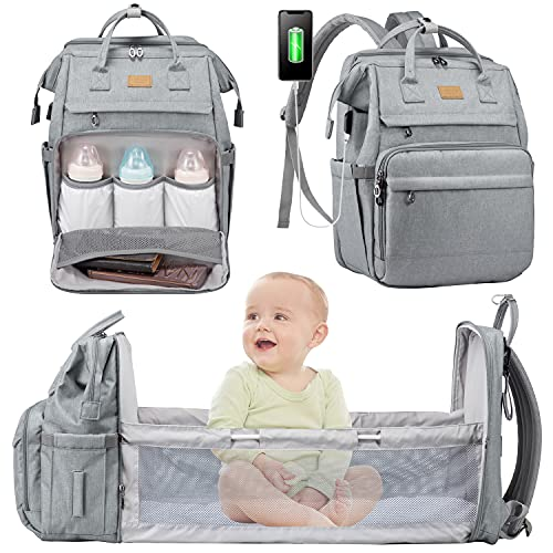 Diaper Bag Backpack with Changing Station,Mommy Bag Foldable Baby Bag Waterproof Travel Bassinet