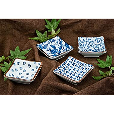 Authentic Japanese Porcelain Square Shape Condiment or Sauce Dish for Appetizer Dessert Salad Snack Candy Fruit Multi Purpose Platter Dishes 3.5 Inch Square Assorted Designs 4 Piece Pack Made in Japan