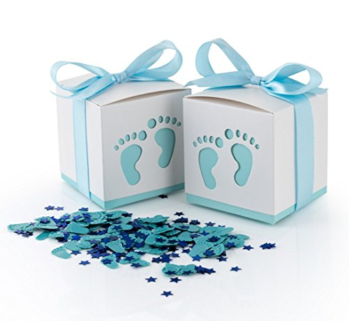 QILICZ 50 STK. Gastgeschenke Baby Taufe Süßigkeit Flaschen Candy Geschenk Box Baby Shower Babydusche Geschenk Box + Konfetti Füßchen Tisch Dekoration für Hochzeit Taufe Geburtstag blau