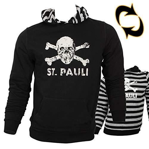 FC St. Pauli - Totenkopf Wende-Kapuzenpullover, schwarz/ schwarz-grau gestreift, Grösse XXL