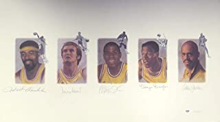 Los Angeles Lakers Legends Autographed Lithograph With 5 Signatures Including Wilt Chamberlain, West, Johnson, Baylor & Abdul-Jabbar Stock #111013 - PSA/DNA Certified