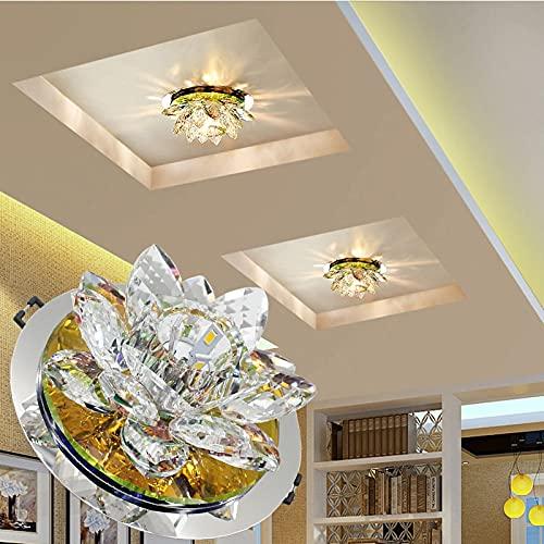 DIRIGIÓ Luz de Techo de Cristal, iluminación de Techo de Montaje en Color Elegante de Cristal para Dormitorio, Sala de Estar, baño, Pasillo (Color : Embedded, Size : Warm White)