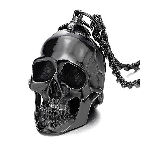 COOLSTEELANDBEYOND Grande Negro Colgante de Cráneo, Calavera, Collar de Hombre, Acero, Espejo Pulido,Cadena de Trigo 75CM