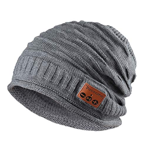 Pococina Upgraded 4.2 Blue Tooth Beanie Music Hat Winter Knit Hat Cap Wireless Headphone Musical Speaker Beanie Hat as Christmas Birthday Gifts for Men Women, Built-in Mic - 012 Grey