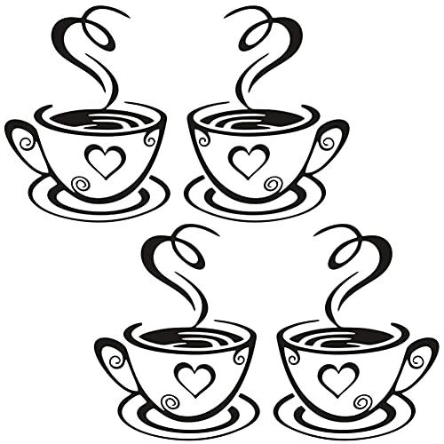 FANDE Café Tazas pared Pegatinas Decal, Calcomanías de Vinilo, Cafe Tea Engomadas de la Pared Tazas de Café, para Cocina, Espejo, Azulejos, Decoración, 2 Juegos