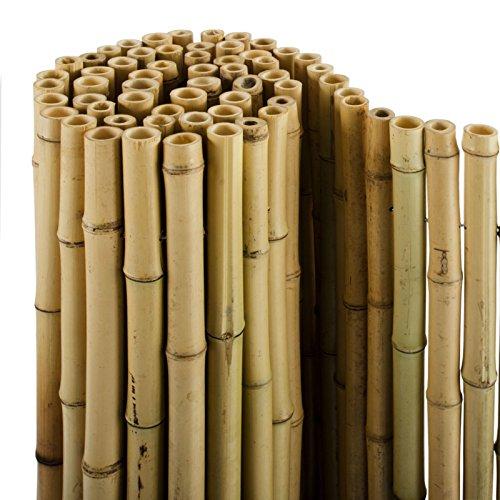 casa pura® Bambus Sichtschutz | Bambusmatte in Premiumqualität, Massive Bambusrohre | naturbelassen | DREI Größen (180x200cm, HxB)