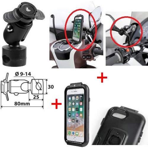 Compatibel met PIAGGIO ZIP 50 lens smartphonehouder speciaal voor iPhone 6/7/8 + houder voor spiegels, frames en dwarsbalken met klem Ø 9-14 mm lamp