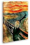 deyoli Edvard Munch El Grito como Lienzo, diseño Enmarcado en Marco de Madera, impresión Digital Marco, no es un póster o Cartel, 80x60