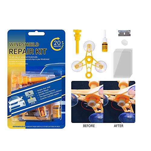 Windshield Repair Kit New Windshield Repair Tool Simple Operation and Quick Repair canbe Used Multiple Times for Compound,Crescent,Chips,Bulll's-Eyes and Stars