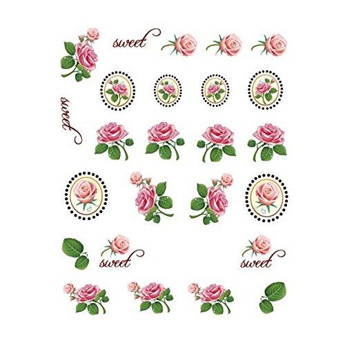 5Pcs Belle Motif Fleurs Nail Art Tips Sticker Décoration, BLE1999