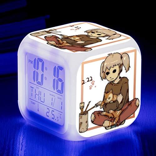 fdgdfgd Reloj Despertador de Fecha Luminosa con Toque Digital de Regalo de cumpleaños LED de 7 Colores para niños Animados con termómetro