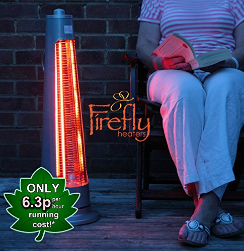 Primrose Firefly 900W Streamline Rotating Electric Patio Heater with 2 Power Settings