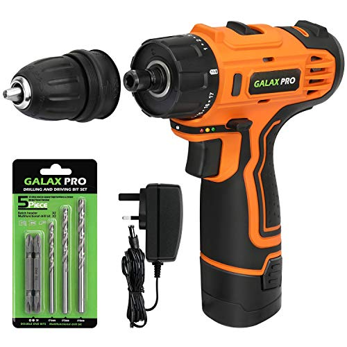 GALAX PRO 12V Cordless Drill Driver Lithium-Ion Drill, Electric Screwdriver, Removable Drill Chuck, Variable Speed, Max Torque: 25N.m, LED Work Light, Battery & Charger Included