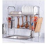 Estante de cocina duradero Estante de acero inoxidable 304 Fregadero de un solo nivel Gancho para colgar Plato Escurridor Estante impermeable a prueba de herrumbre