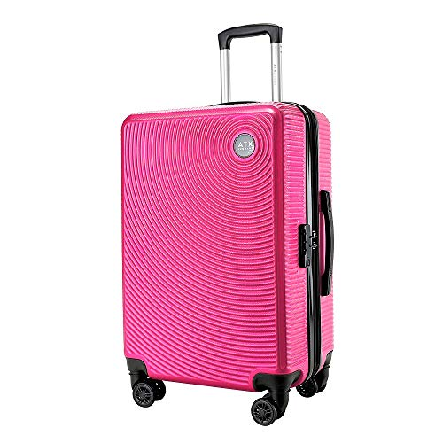 Super Lightweight Durable ABS Hard Shell Hold Luggage Suitcases Travel Bags Trolley Case Hold Check in Luggage with 8 Wheels Built-in TSA Lock (21' Carry-on, Pink)