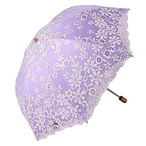 CUHAWUDBA Reise Sonnenschirm Faltender Nicht-UV Sonnenschirm Vintage Regenschirm Gedrucktes Glitter Design 2 Faltender Regenschirm für Frauen Geschenke Lila
