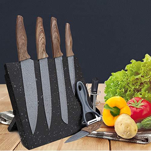 Magnetic Kitchen Knife Block,Resafy Free Standing Knife Set Holder,Wooden Storage,Stylish Marbled Black Kitchen Knife Display,Ideal For Color Knives - Magnetic Knife Stand For Your Kitchen Adornment