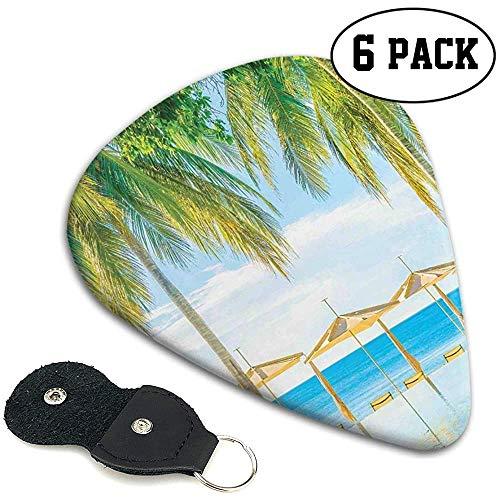 Púas de guitarra 6 piezas, Playa exótica con la naturaleza de la piscina con luz suave Rayos del sol Tema fantástico de vacaciones.96 mm