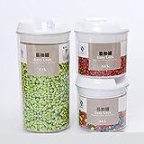 AJun Juego de 3 recipientes para Alimentos–Organizador de Cocina sin BPA para café, Cereales, Ingredientes y demás(4 Combinaciones de frascos para Elegir)