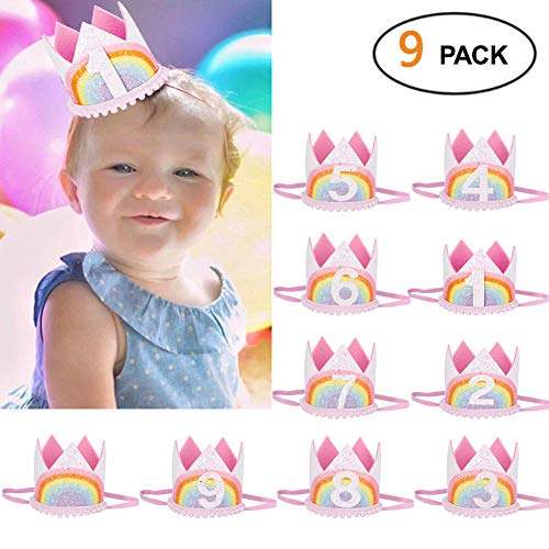 9 Stück Stirnbänder mit Krone für Babys, für Geburtstagspartys, Haargummis, elastische Haarbänder, Krawatten, Mädchen Rosa