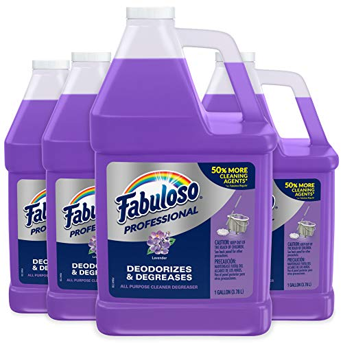 FABULOSO Professional All Purpose Cleaner & Degreaser Gallon Refill, Lavender, 4 Gallons Total (128 oz Bottle | Case of 4), Multi Purpose Cleaner, Bulk, Bathroom Cleaner, Floor Cleaner, Toilet Cleaner