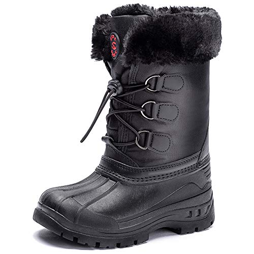 HOBIBEAR Kids Boys Snow Boots Womens Boys Girls Winter Boots Waterproof Cold Weather Outdoor Boots (Toddler/Little Kid/Big Kid) (13 Little Kid, Black-T)