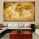 ZENDA Vintage World Map Canvas Wall Art Map of The World Large Painting for Office Home Decoration for Living Room Bedroom Framed Ready to Hang