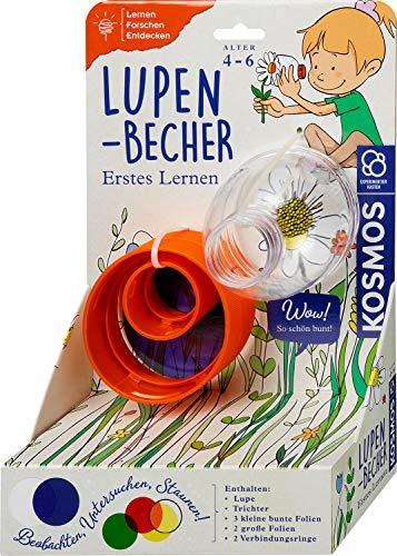 KOSMOS 602345 Erstes Lernen: Lupen-Becher, inkl. Zubehör, Forschen und Spielen, für Kinder ab 4 Jahre, Forscher-Set, Lernspielzeug für drinnen und draußen, Experimentierset für Kindergarten-Kinder
