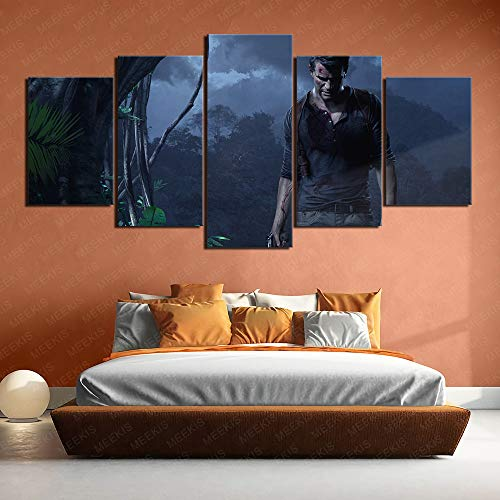 Scene Layout Uncharted 4 Thief's End Canvas Printed Poster 5 Pieces 100x50cm Frameless