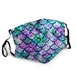 Pink and Blue Watercolor Faux Glitter Mermaid Scales Reusable Face Nose Mouth Cover with Adjustable Earloops Dust Mouth Mask