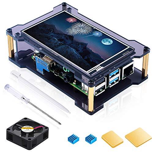 Miuzei Raspberry Pi 4 Touchscreen Bildschirm mit Gehäuse, 4 Zoll IPS Display (Weitwinkel, 800x480 Pixel), HDMI Eingang, Touch Pen Stift, 1 Lüfter, 4 Kühlkörper, Unterstützt Raspbian, Kali