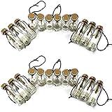 24 Piezas Colgante Mini Botellas de Deseos, Botella de Vidrio Transparente con Tapón de Corcho, Botellas de Deseos de Bricolaje, para Decoración de DIY,Especias, Boda, Recuerdo de Fiesta
