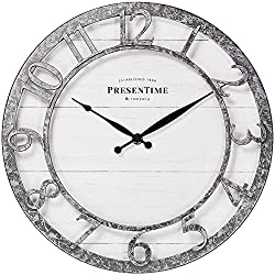PresenTime & Co 13 Farmhouse Series Wall Clock, Quartz Movement, Shiplap Style,Raised 3D Arabic Numeral, Galvanized Finish