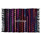 iiinfinize - Alfombra de algodón tejida a mano, diseño vintage de Chindi de algodón, para sala de estar, sofá Dhurrie, alfombra lateral de meditación, esterilla de yoga tradicional étnica