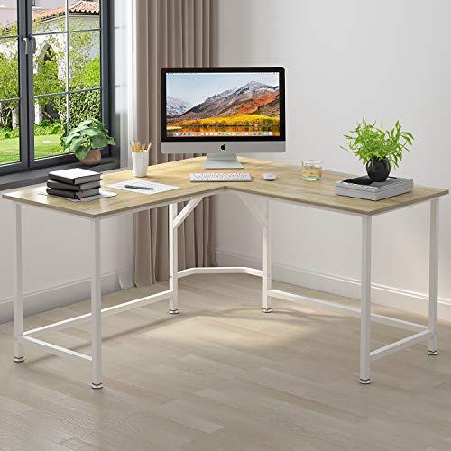 ELEGANT Computer Desk 55' x 55' with 24' Deep L-Shaped Desk Corner Workstation...