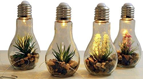 Unbekannt 4X LED Deko Glühbirne mit Kunstpflanze - Glas Glühlampe Hängelampe Tisch Leuchte Licht Lampe Balkondeko